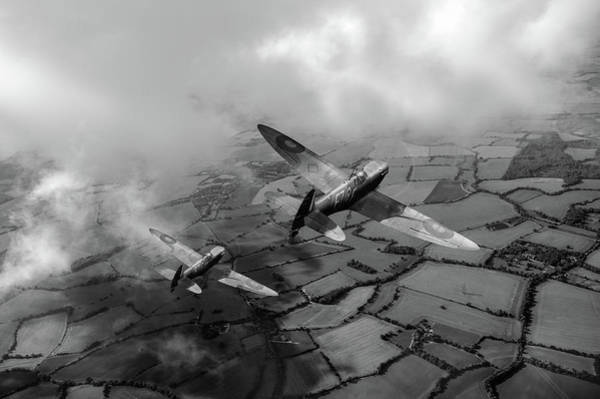 Photograph - Spitfires Among Low Clouds Bw Version by Gary Eason
