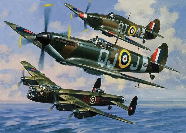 Bomber Painting - Spitfires by Wilf Hardy