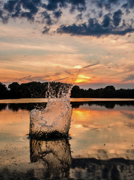 Photograph - Splash On Water At Sunset by Alexandre Rotenberg