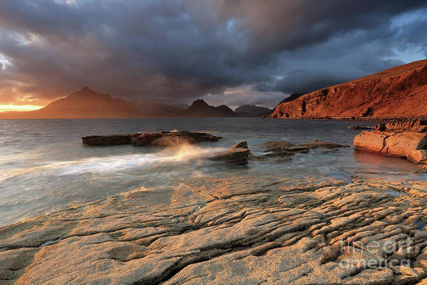 Photograph - Splashing Waves And The Cuillins At Sunset by Maria Gaellman