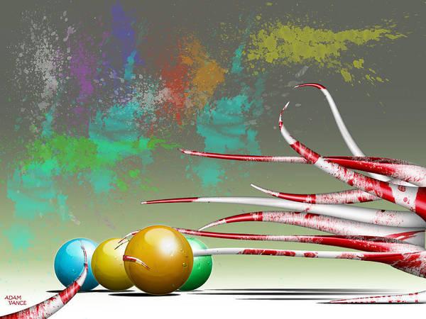 Tentacles Digital Art - Splatter Ball Fun by Adam Vance