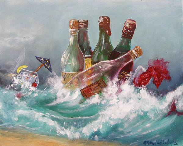 Painting - Splattered Wine by Miroslaw  Chelchowski