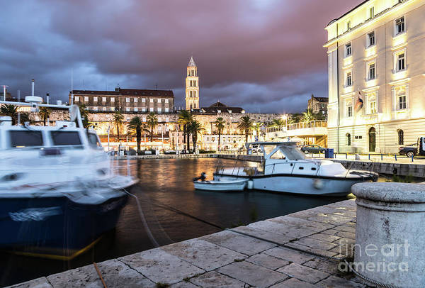 Photograph - Split Harbor Night View In Croatia by Didier Marti