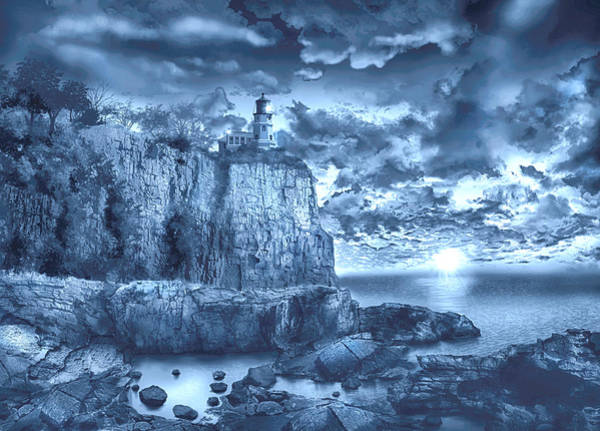 Wall Art - Painting - Split Rock Lighthouse Blue by Bekim M