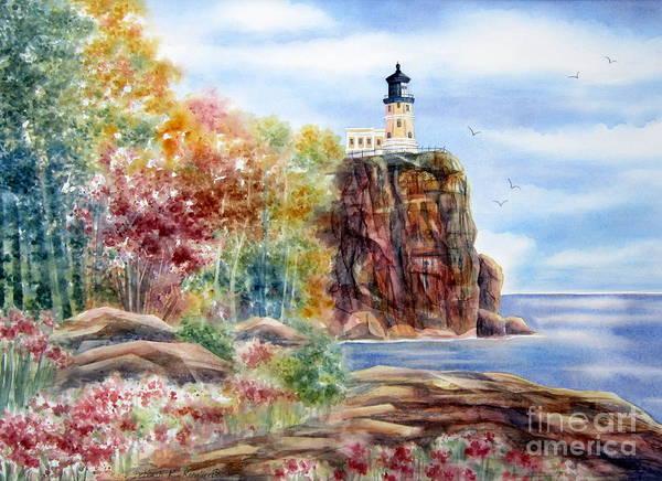 Lake Superior Painting - Split Rock Lighthouse by Deborah Ronglien