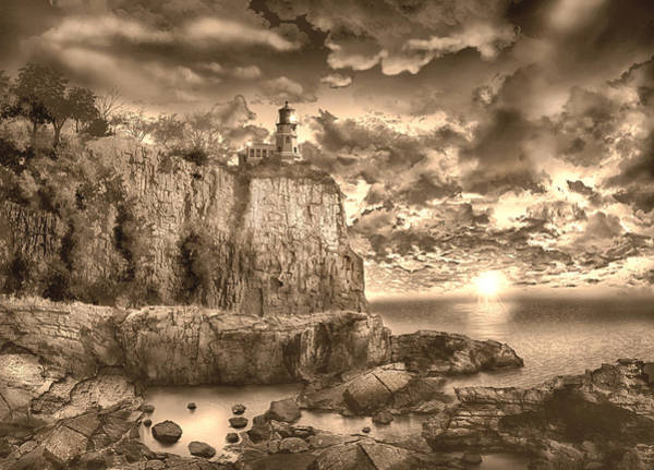Wall Art - Painting - Split Rock Lighthouse Sepia by Bekim M