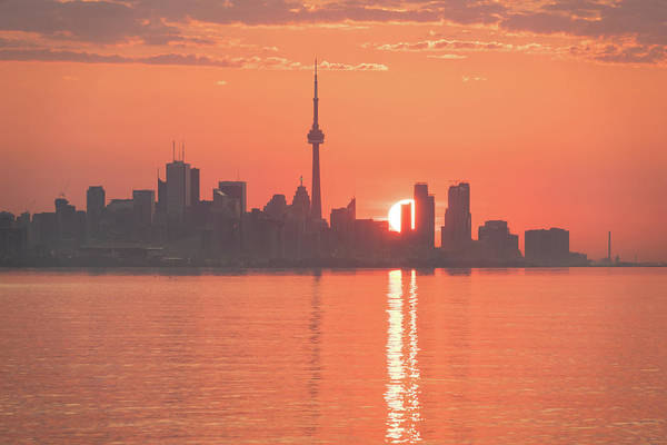Photograph - Split Sun Path - Toronto Sunrise In Vivid Living Coral Orange by Georgia Mizuleva