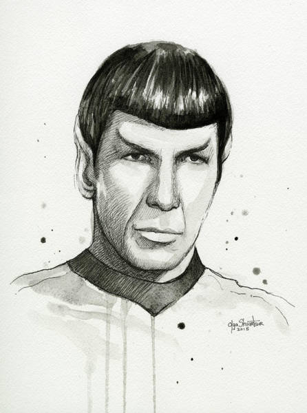 Star Wall Art - Painting - Spock Watercolor Portrait by Olga Shvartsur
