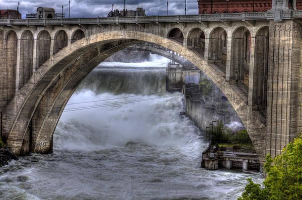 Photograph - Spokane Falls And Monroe Bridge 2 by Lee Santa