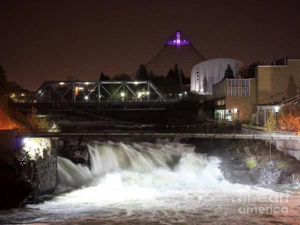 Photograph - Spokane Falls Night Scene by Carol Groenen