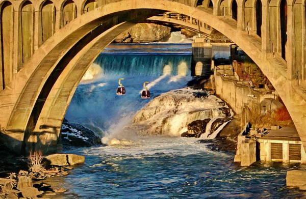 Spokane Digital Art - Spokane Monroe Street Bridge by Russ Harris