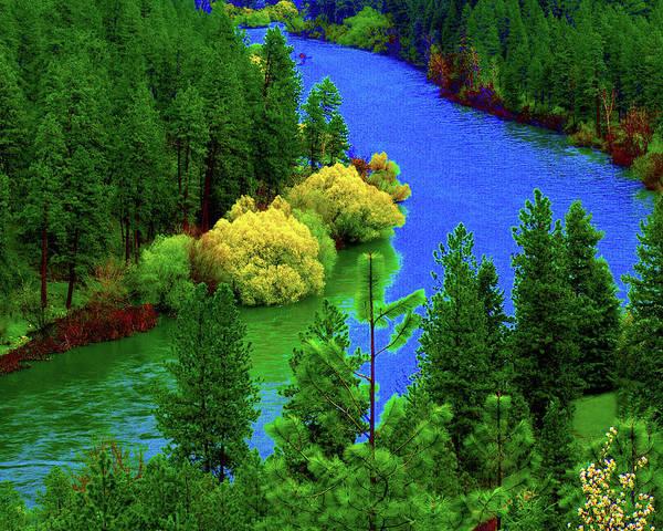 Spokane Digital Art - Spokane River Blues by Ben Upham III