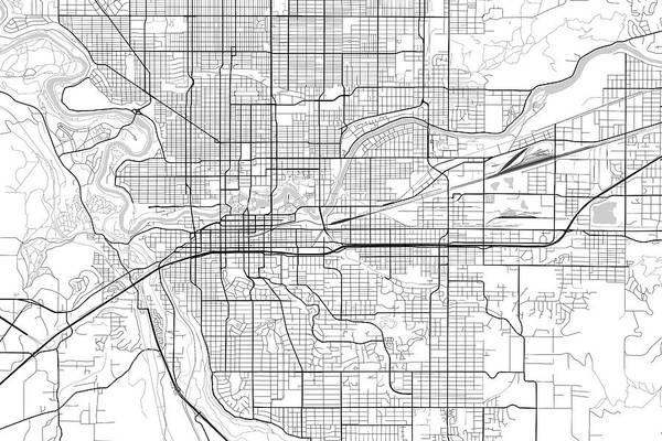 Spokane Digital Art - Spokane Washington Usa Light Map by Jurq Studio
