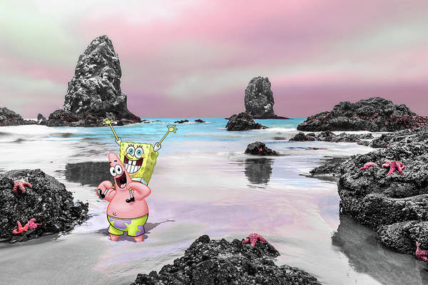 Pink And White Digital Art - Spongebob And Patrick Play In Low Tide At Canon Beach by Scott Campbell