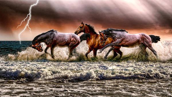 Digital Art - Spooked Horses In The Ocean - Digital Art by Ericamaxine Price
