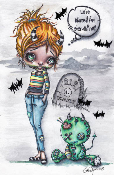 Voodoo Doll Painting - Spookette Lil Devil And Misery by Lizzy Love