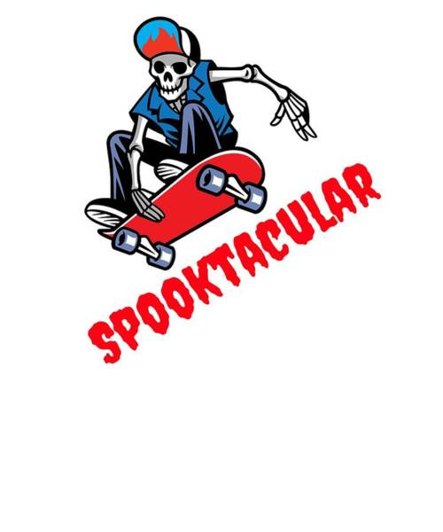 Trick Or Treat Drawing - Spooktacular Halloween Skater Skeleton Dude by Kanig Designs