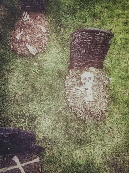 Burial Wall Art - Photograph - Spooky Grave Stones by Tom Gowanlock