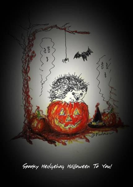 Mixed Media - Spooky Hedgehog Halloween by Denise F Fulmer