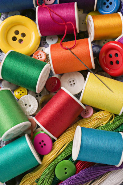 Wall Art - Photograph - Spools Of Thread With Buttons by Garry Gay