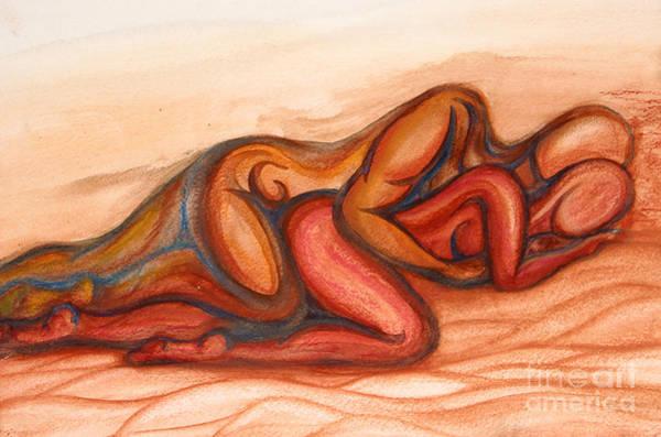 Sleeping Wall Art - Mixed Media - Spooning by Aurora Jenson