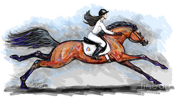 Digital Art - Sport Horse Rider by Stacey Mayer