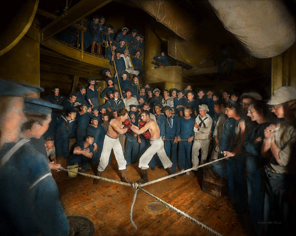 Shipmates Photograph - Sports - Boxing - The Second Round 1896 by Mike Savad