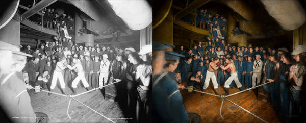 Shipmates Photograph - Sports - Boxing - The Second Round 1896 - Side By Side by Mike Savad