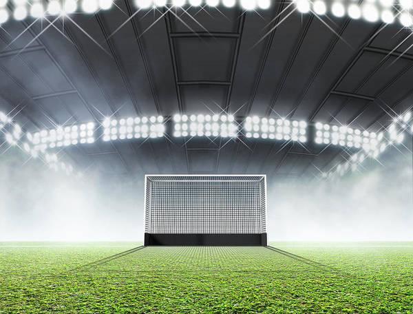 Wall Art - Digital Art - Sports Stadium And Hockey Goals by Allan Swart