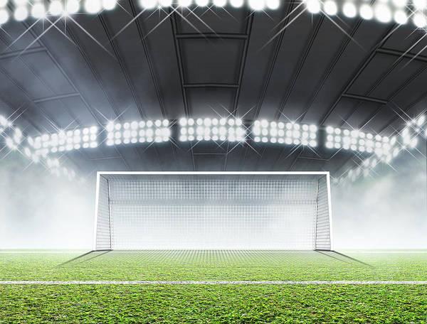 Wall Art - Digital Art - Sports Stadium And Soccer Goals by Allan Swart