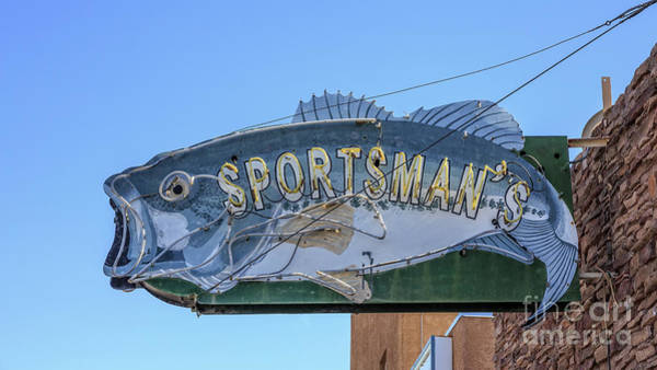 Wall Art - Photograph - Sportsman Old Vintage Neon Sign by Edward Fielding