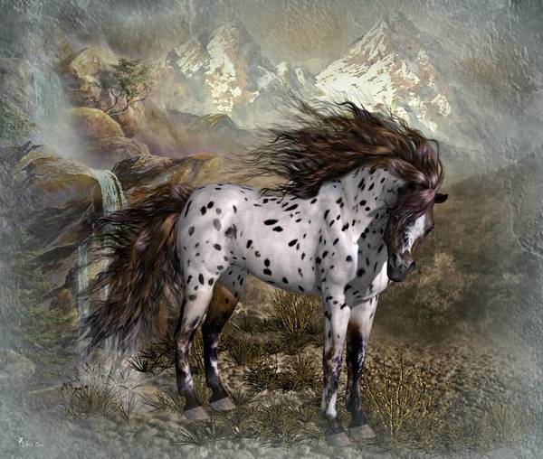 Horse Feathers Digital Art - Spotted Horse by Ali Oppy