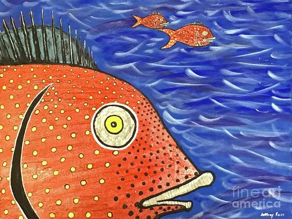 Wall Art - Painting - Spotted Red Fish by Jeffrey Koss