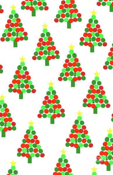 Christmas Gift Digital Art - Spotty Trees by Louisa Knight