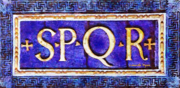 Postmark Painting - Spqr Senatus Populusque Romanus 2 - Pa by Leonardo Digenio