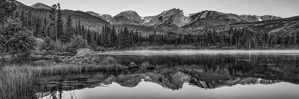 Photograph - Sprague Lake Morning Mountain Landscape Panorama - Black And White by Gregory Ballos