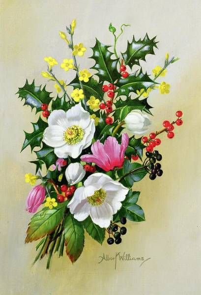 Vase Of Flowers Painting - Spray Of Dogrose Holly Mistletoe And Larkspur by Albert Williams