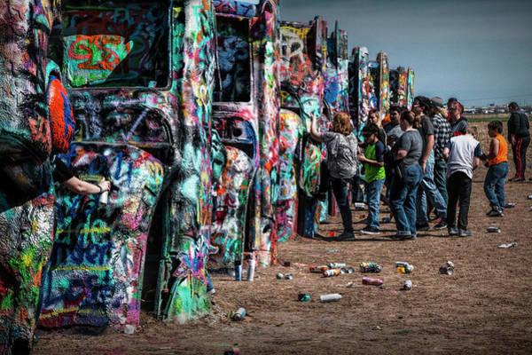 Photograph - Spray Paint Fun At Cadillac Ranch by Randall Nyhof