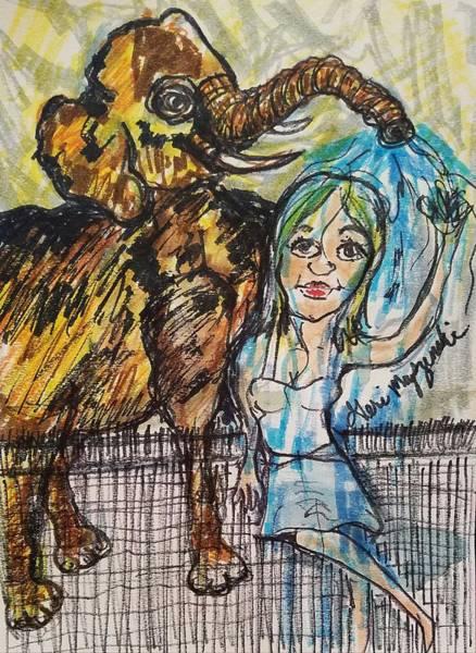 Wall Art - Painting - Sprayed By The Elephant by Geraldine Myszenski
