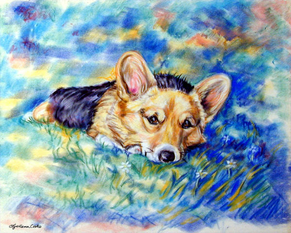 Wall Art - Painting - Spring - Pembroke Welsh Corgi by Lyn Cook