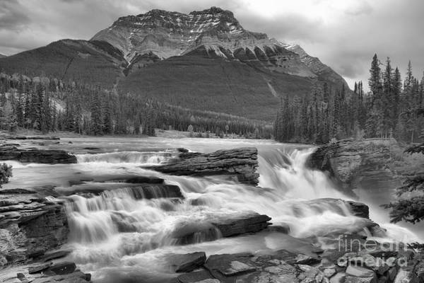 Photograph - Spring 2018 Storms Over Athabasca Falls Black And White by Adam Jewell
