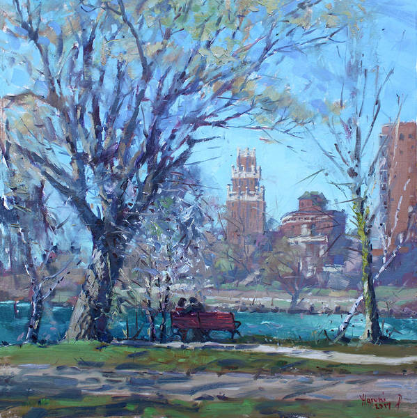 Office Buildings Wall Art - Painting - Spring At Goat Island by Ylli Haruni
