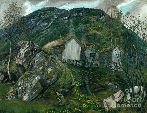 Nikolai Astrup Painting - Spring Atmosphere At A Smallholing by O Vaering