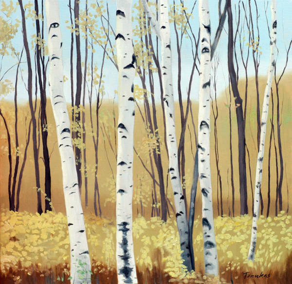 Painting - Spring Birches by Linda Tenukas