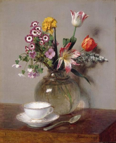 Saucer Painting - Spring Bouquet by Ignace Henri Jean Fantin-Latour
