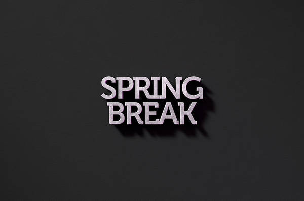 Broken Digital Art - Spring Break Text On Black by Allan Swart