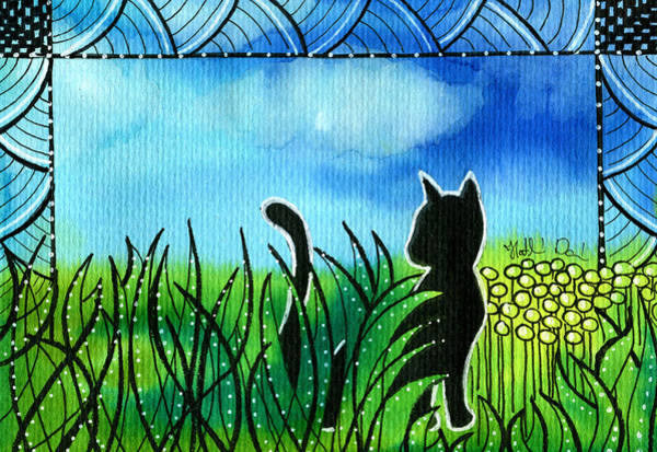 Painting - Spring Breeze - Black Cat Card by Dora Hathazi Mendes