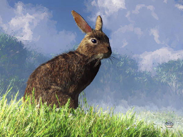 Haring Digital Art - Spring Bunny by Daniel Eskridge
