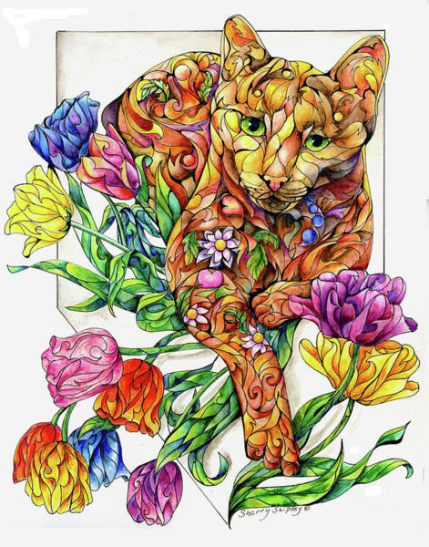 Painting - Spring Cat With Tulips by Sherry Shipley