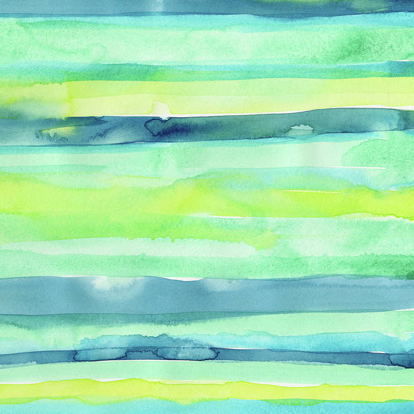 Fresh Painting - Spring Colors Pattern Horizontal Stripes by Olga Shvartsur